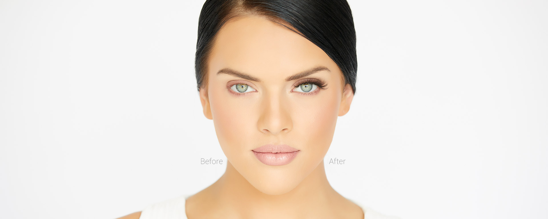 Model's face shown with one eye before and one eye after the application of Amazing Volume Classic (3D) lash extensions