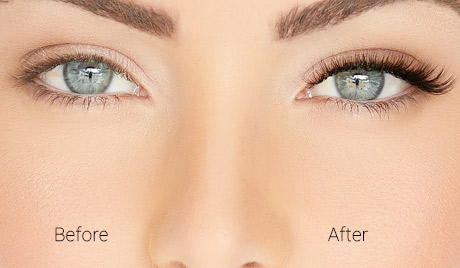 Natural  - Model demonstrates one eye before lash extensions and one eye after lash extensions applied in the Natural style