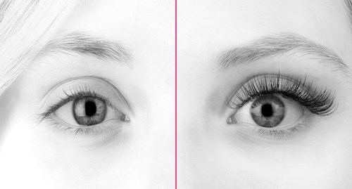 Natural lashes before and after