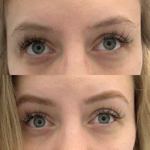 Real before and after brow tinting and brow waxing service example